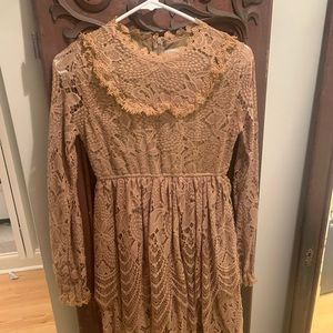 Girls Trish Scully choc brown dress 14